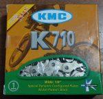 """Lánc 1 sebességes 1/8"""" KMC K710 96 szemes ezüst ÚJ"""