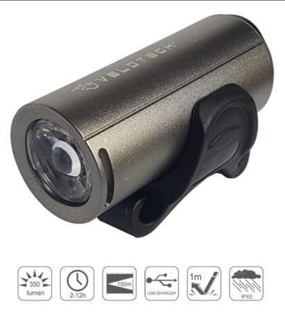 Lámpa első akkumlátoros USB Velotech 350 Lumen