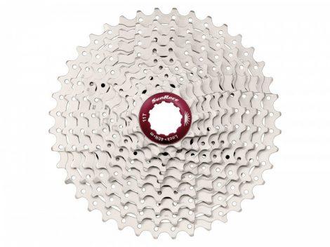 Fogaskoszorú 10seb. 11-46T Sunrace CSMX3 10AZ ALU bakos 436g (ezüst-piros utolsó db)