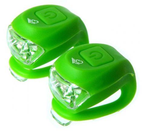 Szilikon villogó párban Velotech 2 LED Zöld